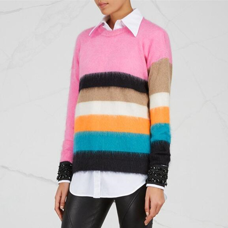 Striped Rainbow Sweater Women Autumn 2018 Long Sleeve Knitted Sweater Women Pullover Korean Fashion Christmas Jumper Pull Femme