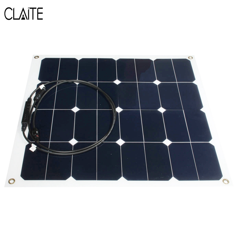 CLAITE 50W 12V Epoxy Solar Panels Solar Cells Battery Flexible Polycrystalline Silicon DIY Solar Modules Pro For Boat RV Car 50w 12v semi flexible monocrystalline silicon solar panel solar battery power generater for battery rv car boat aircraft tourism