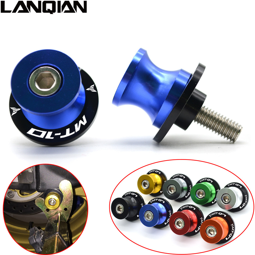 Arm Stand Screws M6 For YAMAHA MT10 MT-10 MT 10 CNC Aluminum Motorcycle Accessories Swingarm Spools Slider 6mm Swing With LOGO for yamaha mt 07 mt 07 fz07 mt07 2014 2015 2016 accessories coolant recovery tank shielding cover high quality cnc aluminum