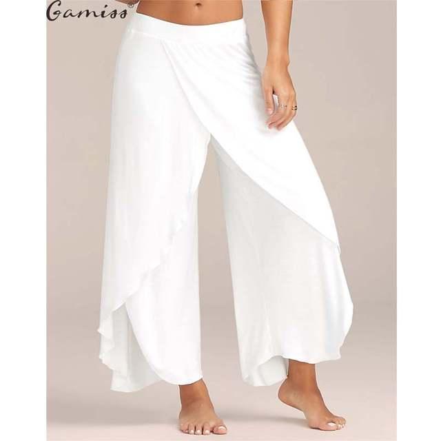 fe9c8bbf8ef Gamiss Cotton 2017High Waist Women Wide Leg Pants Flowy Layered Slit Palazzo  Pants 2017 Summer Ladies