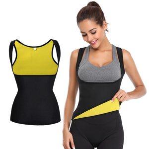 Image 5 - Conjunto de roupa modeladora do corpo, calças termo neoprene para mulheres calças de emagrecimento molde + colete sem mangas espartilho de controle de esticar