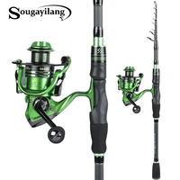 Sougayilang Spinning Fishing Rod and Spinning Reel Carbon Fiber Spinning Fishing Pole with 13+1BB Spinning Reel