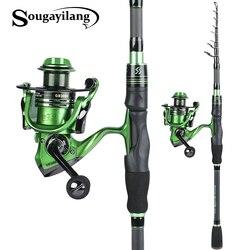 Sougayilang Spinning Canna Da Pesca e Bobina di Filatura In Fibra di Carbonio Spinning Canna Da Pesca con 13 + 1BB Bobina di Filatura