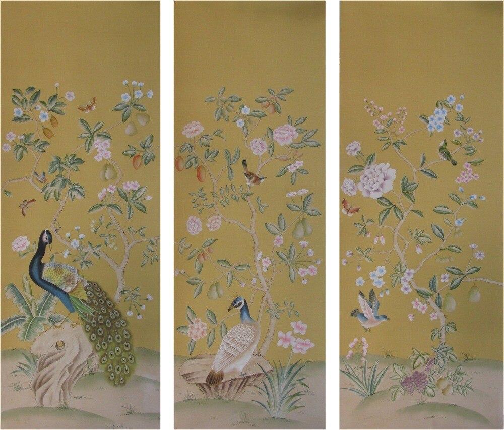 Классический стиль Элегантный Ручная роспись шелковые обои цветы с птицами обои широкий выбор мотивов и фона опционально