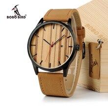 BOBO PÁJARO Reloj de Los Hombres 2016 Relojes de Marca de Lujo De Madera Dial Reloj Masculino relogio del Reloj de Cuarzo Reloj de Acero Inoxidable Calendario