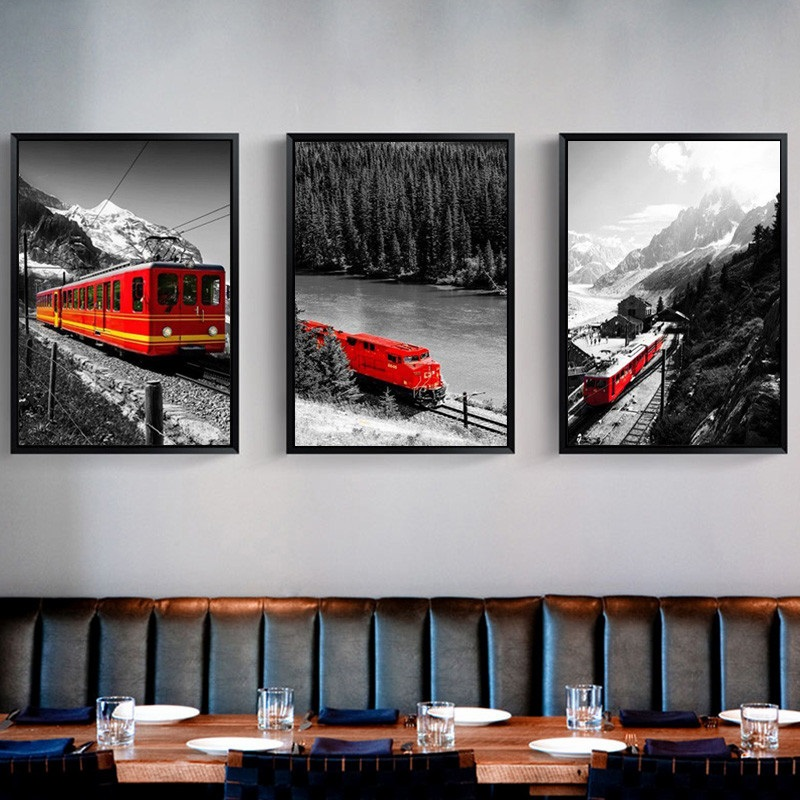 City Series Picture Rustic Black and White Landscape Canvas Painting Red Train Snow Mountain Print Poster Wall Art Home Decor