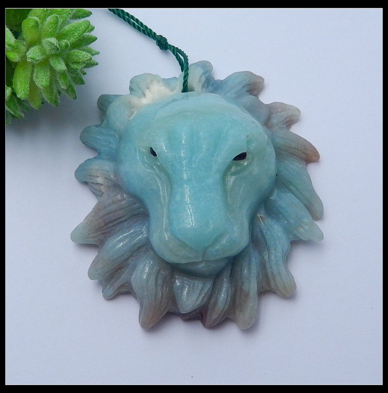 Natural Stone Amazonite Carved Lion head Necklace Pendant For Man 48x43x18mm 33 8g Trendy Fashion Jewelry