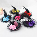 "4"" Mini Top Hat Small Party Hat Wedding Hair Accessories Para Cabelo Women 24pcs/lot Free Shipping MFF10-005"