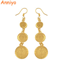 Anniyo Goud Kleur Moslim Islamitische Oorbellen Coin, Islam Oude Munt, Arabische Sieraden Vrouwen/Geschenken, fashion Gift Item #003306
