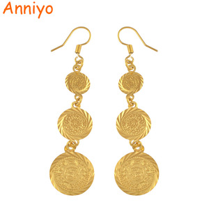 Image 1 - Anniyo gold color muslim islamic earrings coin,Islam ancient coin,Arab jewelry women/gifts,Fashion Gift Item #003306