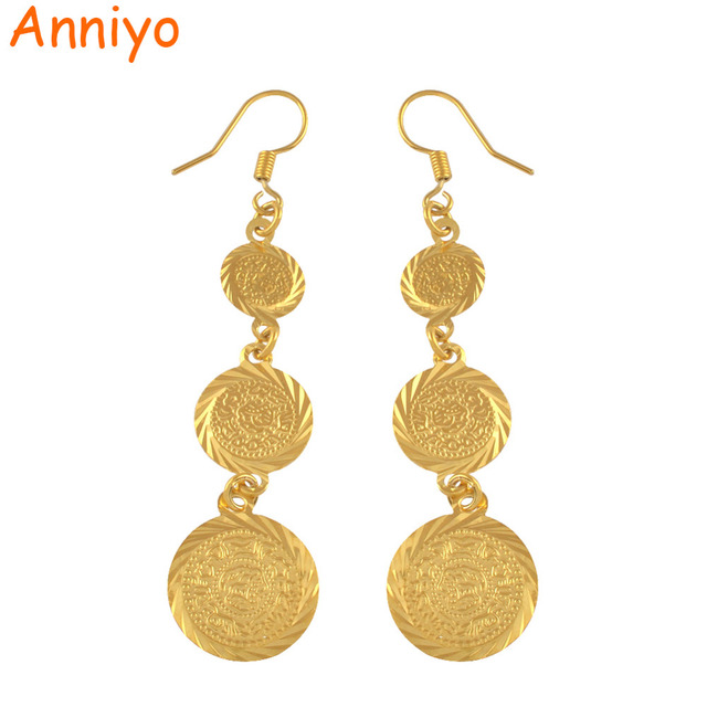 Anniyo gold color muslim islamic earrings coin,Islam ancient coin,Arab jewelry women/gifts,Fashion Gift Item #003306