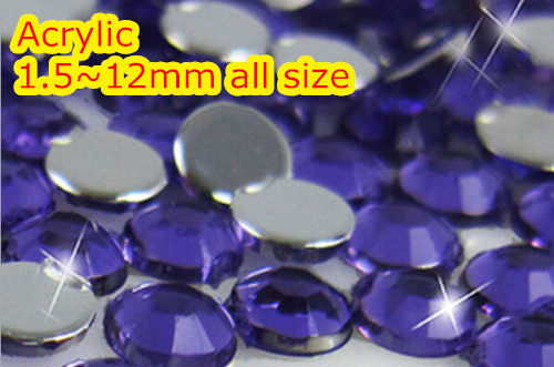 Tanzanite Color 1.5~12mm All size Choice Flat Back Round Acrylic rhinestone,Acrylic Resin 3D Nail Art / Garment Rhinestone blue zircon color 1 5 12mm flat back round acrylic rhinestone acrylic resin 3d nail art garment rhinestone