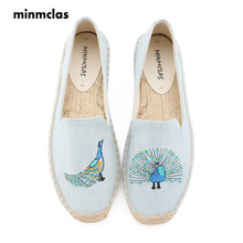 MInmclas New Peacock Embroidery Comfortable Slippers Womens Casual Espadrilles Shoes Breathable Flax Hemp Canvas for Girl