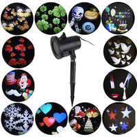 Tanbaby Halloween Christmas Outdoor Night Snowflakes Projector Light Decorations 12 Slides LED Moving Landscape Spotlights