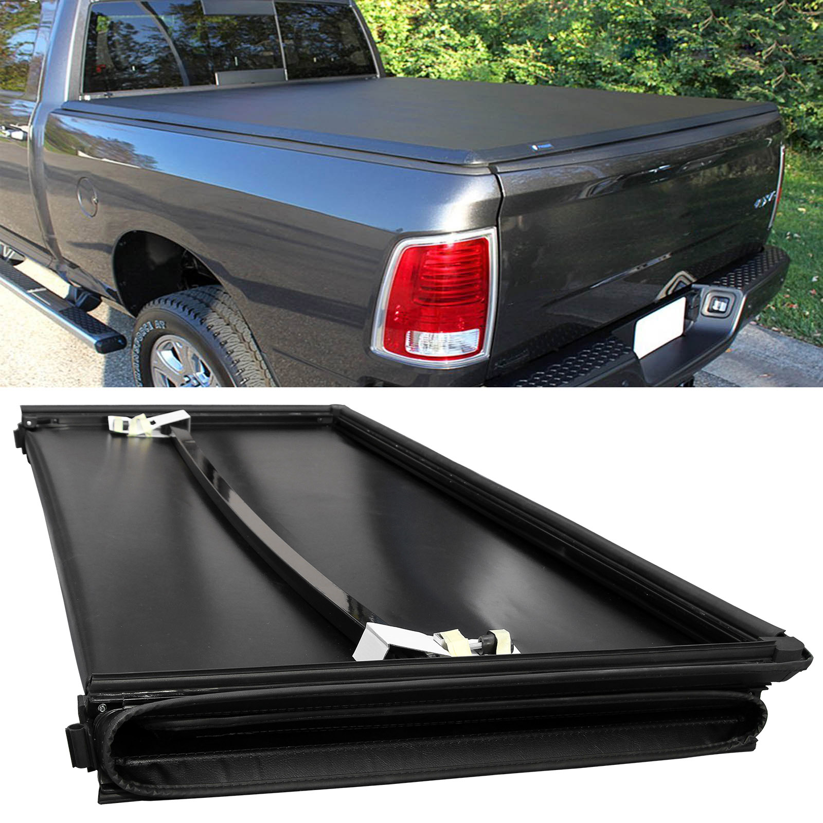 6 4ft Fleetside Folding Soft Tonneau Cover Bed For Dodge 2002 2017