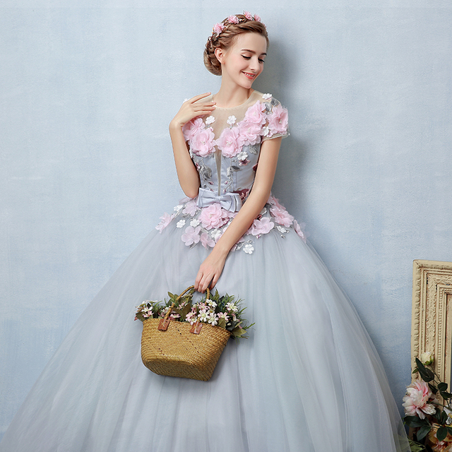 100%real light grey pink flowers fairy cosplay ball gown royal ...