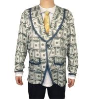 Funny Dollar Cash Printed Halloween Costume for Men Cute American Bills Print Halloween T Shirt Plus Size