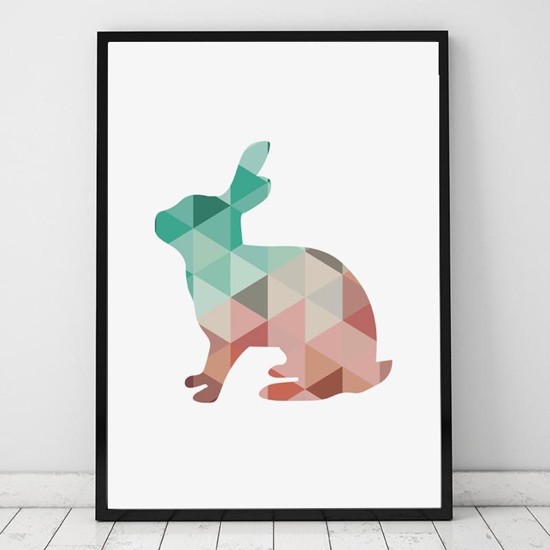 Cartoon Geometric Rabbit Canvas Umělecký plakát Plakát Nástěnné obrázky pro domácí dekorace Plátno Umělecký plakát Plakát Rám neobsahuje