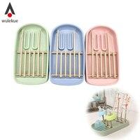 Wulekue Wheat Straw Foldable Baby Bottle Drying Rack Hanging Cups Holder Kitchen Drain Shelf For Baby