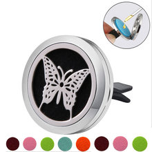 Butterfly Stainless Steel Car Air Freshener Perfume Essential Oil Diffuser Locket Random Send 1pcs Oil Pads Gift Girl Jewelry(China)