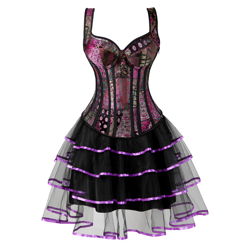 bustier     corset   dresses for women skirt tutu set zipper strap   corset   plus size gothic jacquard burlesque sexy vintage purple 6XL