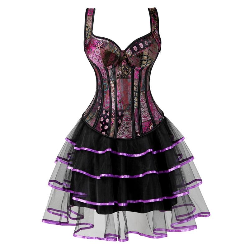 bustier corset dresses for women skirt tutu set zipper strap corset plus size gothic jacquard burlesque sexy vintage purple 6XL|Bustiers & Corsets|   - AliExpress