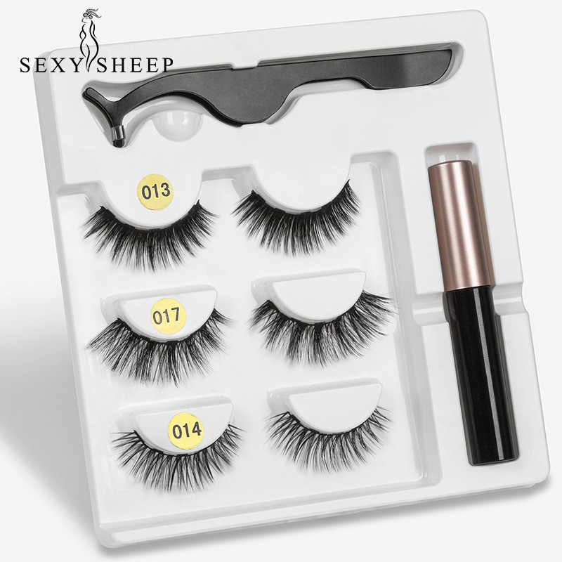 5 Magnet Eyelash Magnetic Liquid Eyeliner& Magnetic False Eyelashes & Tweezer Set Waterproof Long Lasting Eyelash Extension(China)