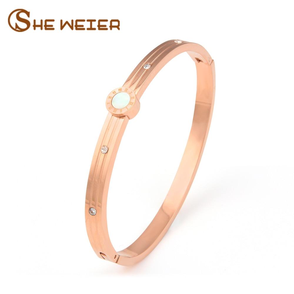 SHE WEIER bracelets & bangles charms rose gold bracelet femme gifts for women girls stainless steel female bijouterie braslet