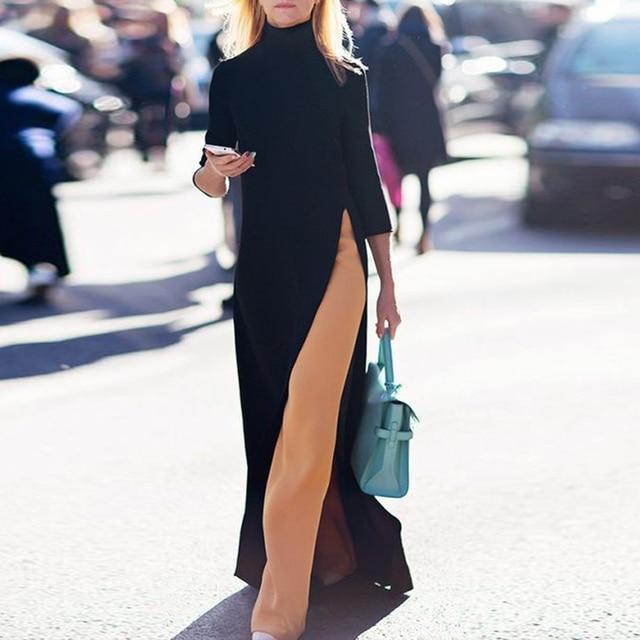 Women Fall Fashion Plus Size Dress Autumn Asymmetrical Turtleneck Pullover Fall Clothes Winter Oversize Maxi Long Dress Elegant 1