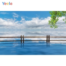 Yeele Cloudy Sea Photography Backdrops Sky Landscape Fence Leaves Photographic Backgrounds Girl For The Photo Studio Shoots