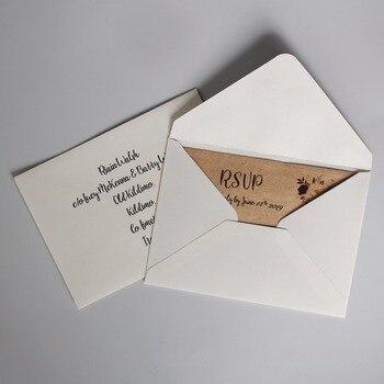 Off White Wedding Invitations Envelope, Customized RSVP Envelopes - Set of 50pcs