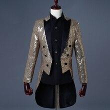 Винтажный мужской смокинг с золотыми блестками Uomo, одежда для сцены, Черная мужская куртка с блестками, мужской блейзер с блестками, мужской костюм, мужской фрак