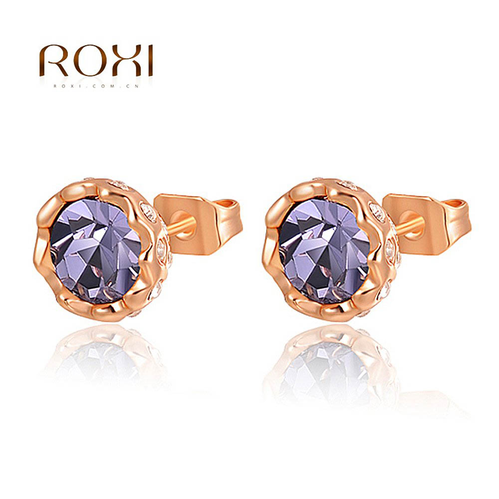 ROXI Happiness Color Big Crystal Stud Earrings Sliver Color For Romantic Mother's Gifts Wedding Jewelry Cute Earrings pendientes