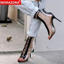 MORAZORA 2019 najnowsze letnie buty damskie z wystającym palcem pvc przezroczyste buty gladiatora sexy buty na cienkich wysokich obcasach botki dla kobiet