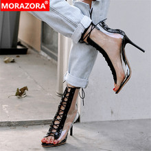 MORAZORA 2019 أحدث الصيف أحذية النساء المفتوحة تو بولي كلوريد الفينيل شفافة المصارع أحذية مثير رقيقة عالية الكعب حذاء من الجلد للنساء