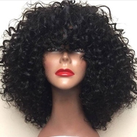 DLME Afro Kinky Curly Hair Heat Resistant Synthetic Lace Front Wigs With Bangs 180 Density Short African American Wigs For Women
