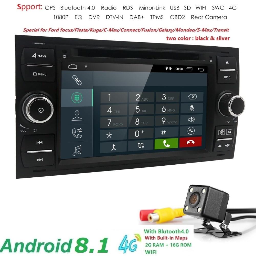 2din Android 8.1 DAB + Auto Lettore DVD In Dash Per Ford Transit Fuoco Collegare S-MAX Kuga Mondeo Con QuadCore wifi 4g GPS Bluetooth