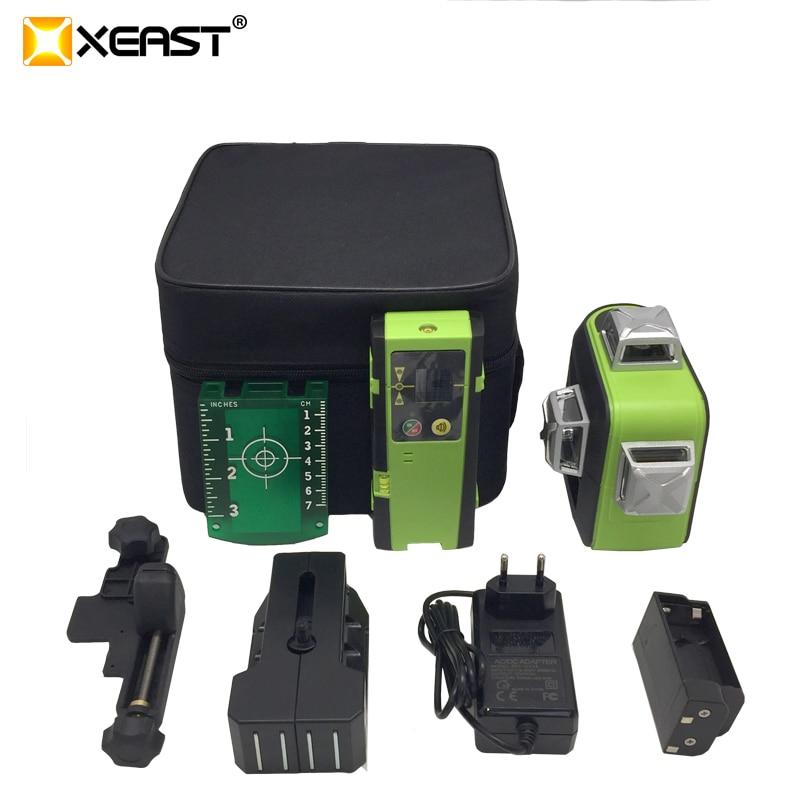 XEAST XE-93TG 12 linii 3D zielony laser poziom bateria litowa samopoziomujące poziome i krzyżujące się pionowo linie mogą korzystać z odbiornika