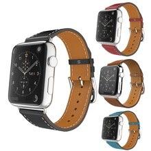 Para Apple Venda de Reloj de Cuero Azul de Lujo Genuino Brazalete Correa de Reemplazo Correa de Cierre para iWatch Wrist Band con Adaptador