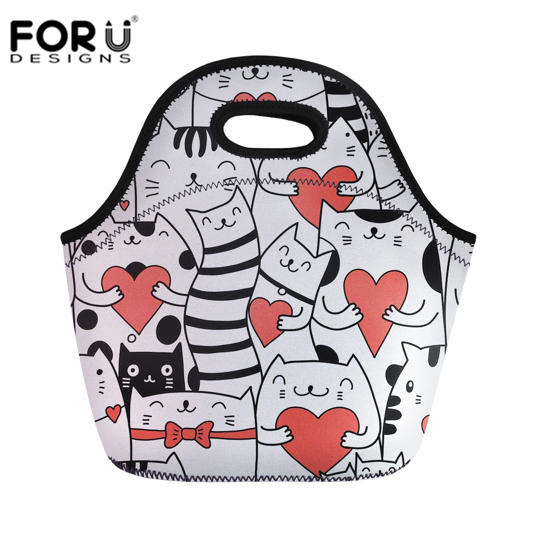 FORUDESIGNS Kid Lunch Bags Kawaii 3D Cartoon Cat Printing Pinic Box Bag Handbags Neoprene Lunch Bag Women Kids Bolsa de almuerzo