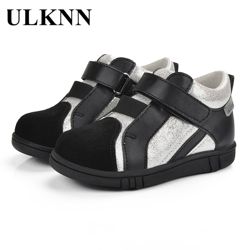 ULKNN Kids Shoes For Boys Casual Children Shoes Genuine Leather Glitter Bling Sport Running School Flat Comfortable tenis menino ...