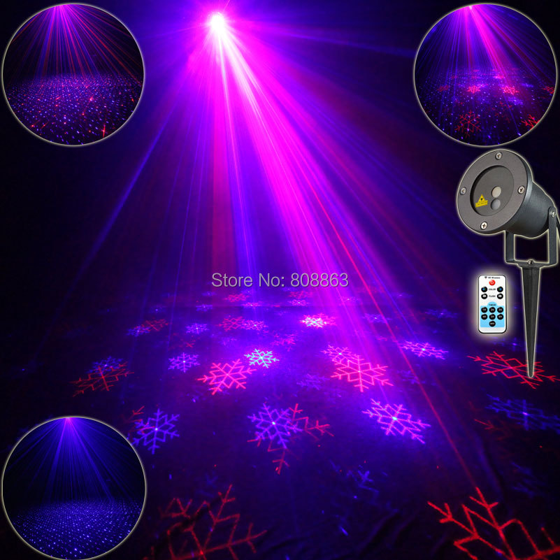 Outdoor Waterproof R&B Laser 2 Patterns Snow Projector Remote Holiday House Tree Wall Garden Landscape Lighting Effect Light T55