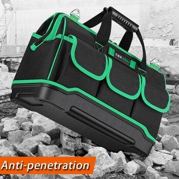 AIRAJ 13/16/18/20 дюймов новый инструмент сумка, большой Ёмкость Водонепроницаемый сумка для электрика Пластик дно Для мужчин; скошенная сумка инс...