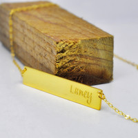 Wholesale Golden Bar Engraved Name Personalized Nameplate Necklace Custom Hand Stamp Initial Pendent BFF Jewelry Nome