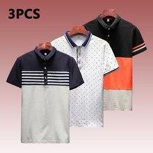 f837b081cc 1-3 PCS/Lot Polo Chemises Hommes D'été Qualité Courtes En Coton Rayé Hommes Polos  Homme Marque Vêtements Rapide Sec Classique t-.