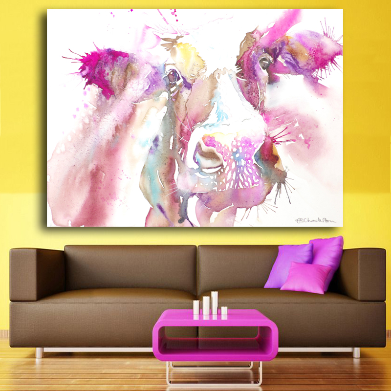 white watercolor Painted Canvas Paintings Cow Oil Paintings Modern ...