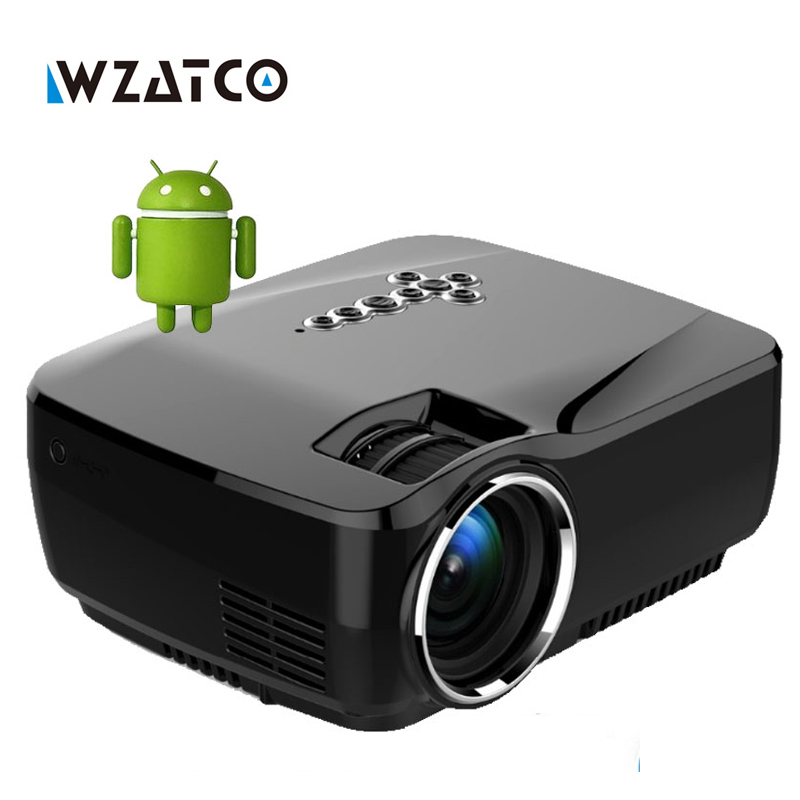 Wzatco mini projector android 4 4 wifi bluetooth 4 0 hd led multimedia projectors 1600lumens for Small bluetooth projector