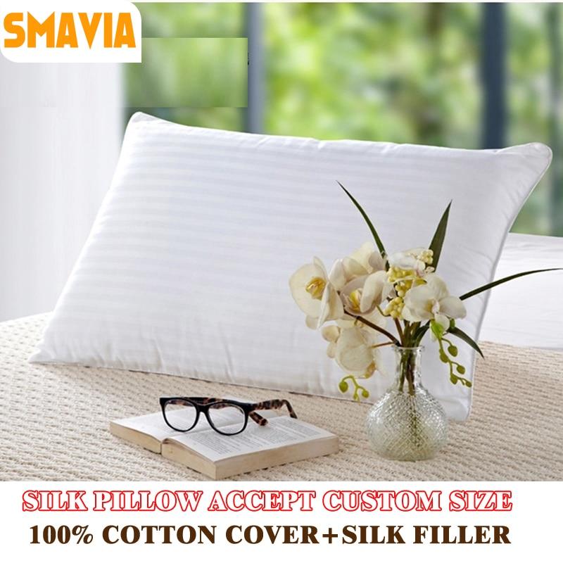 SMAVIA Silk Filled Pillow 100% Cotton Cover Zero Pressure Soft Bedding Pillow 48*75cm/51*66cm/51*92cm/66*66cm ACCEPT CUSTOM SIZE