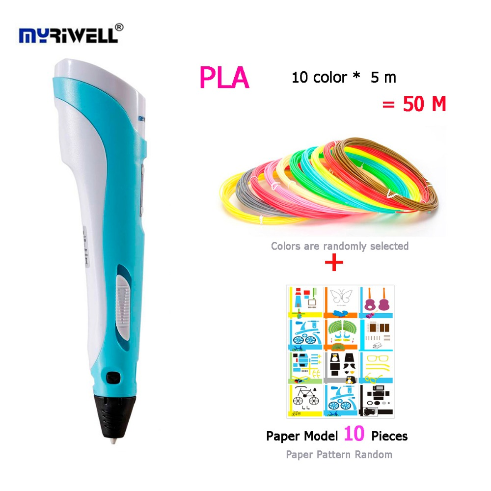 Myriwell 2nd 3D Pen Multi-Color PLA 10colors*5m Paper Model 10 Pieces Making Doodle Arts Crafts Creativity 3D Pen