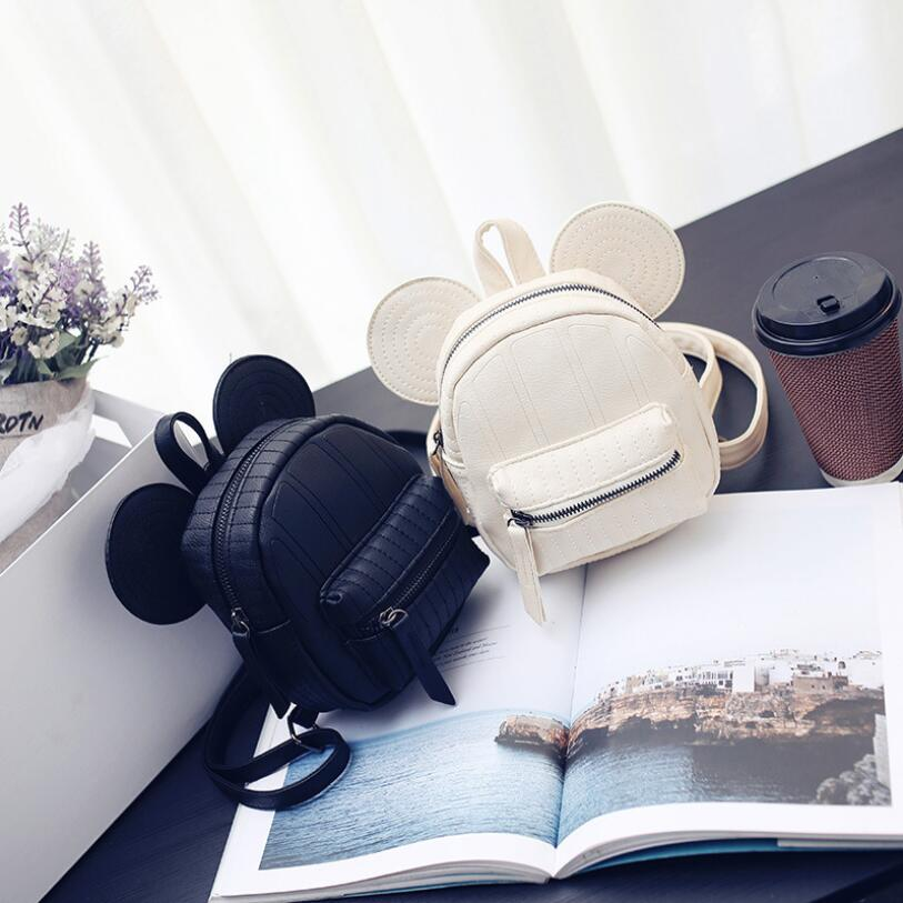 mini bag travel cute bag with Mickey ears fashion Female leather backpack women small backpacks school men bags for girl new 2016 women bag cat backpack for teenager girls travel pu leather backpack brand fashion school cute small bags cat ears bags